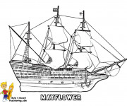 Coloriage Navire à voile Fleur de Mai