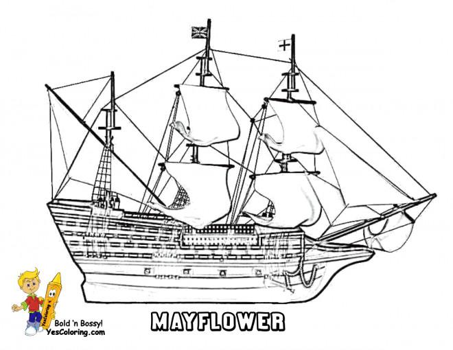 Coloriage et dessins gratuits Navire à voile Fleur de Mai à imprimer