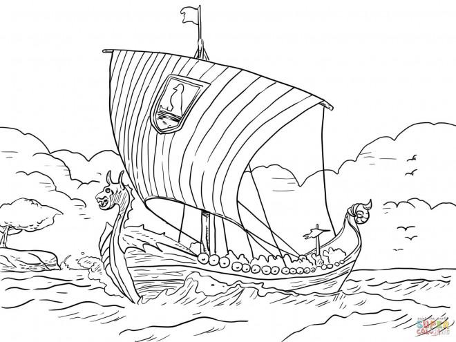 Coloriage et dessins gratuits Navire à voile grec à imprimer