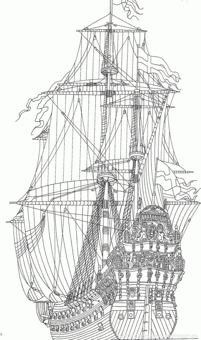 Coloriage et dessins gratuits navire britannique antiquité à imprimer