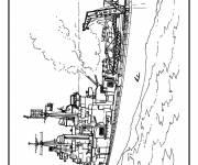 Coloriage Navire de guerre américain