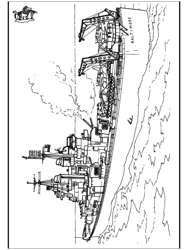 Coloriage et dessins gratuits Navire de guerre américain à imprimer