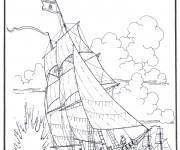 Coloriage Navire de guerre de l'antiquité