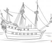 Coloriage Navire de pirates stylisé