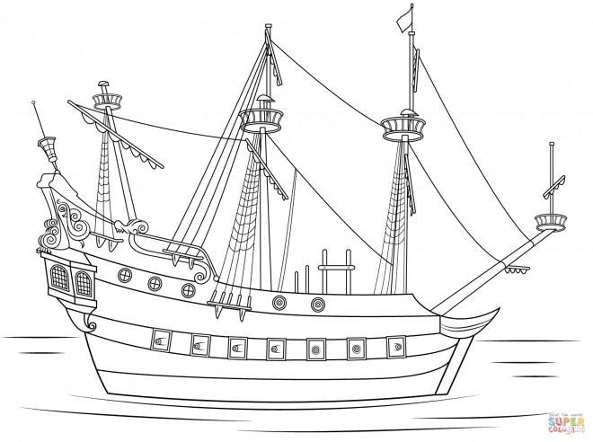 Coloriage et dessins gratuits Navire de pirates stylisé à imprimer