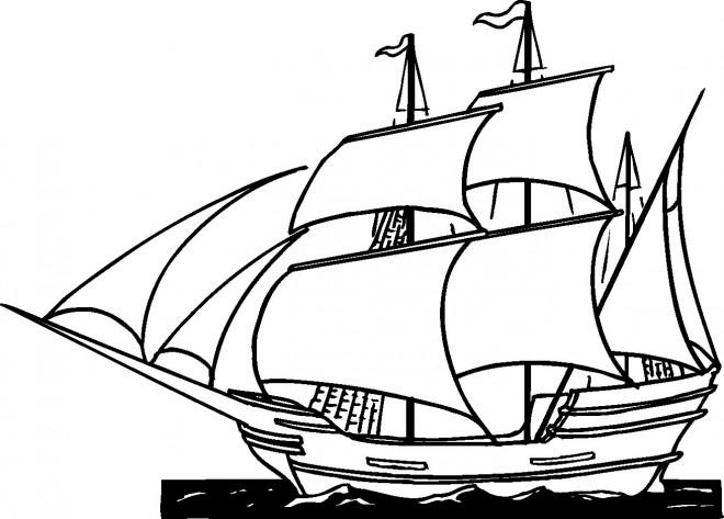 Coloriage et dessins gratuits Navire fait son voyage dans l'océan à imprimer