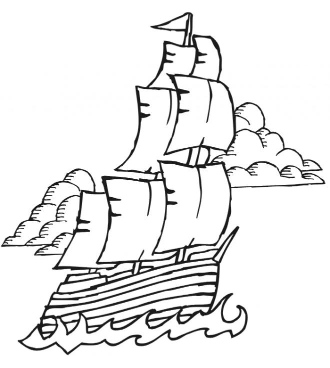 Coloriage et dessins gratuits Navire maternelle à imprimer