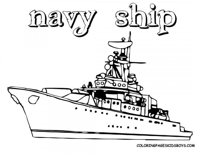 Coloriage et dessins gratuits Navire militaire à découper à imprimer