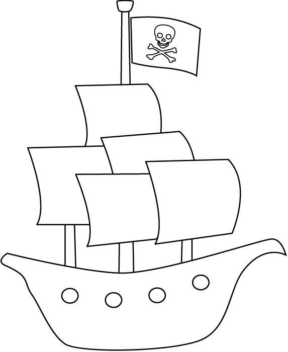 Coloriage Navire Pirate Simple Dessin Gratuit A Imprimer