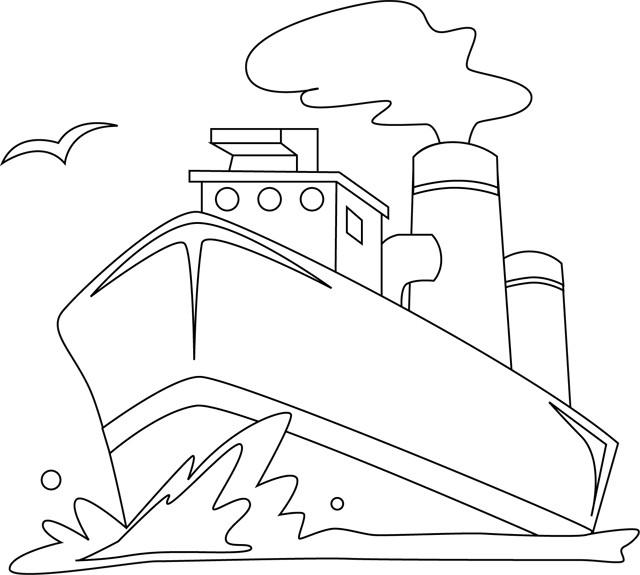 Coloriage et dessins gratuits Paysage Bateau dans la mer à imprimer
