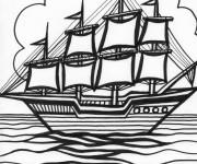 Coloriage Paysage fantastique d'un Navire à voile