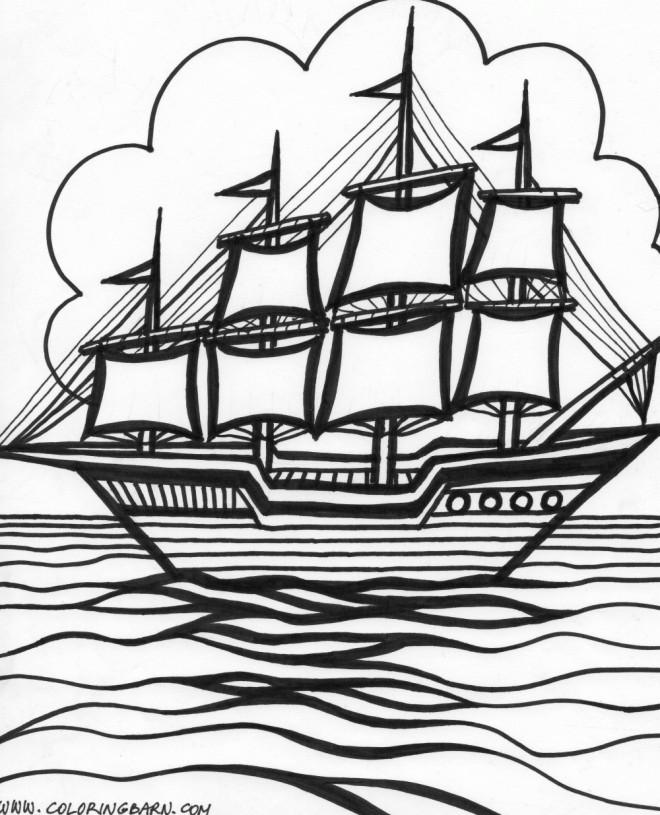 Coloriage et dessins gratuits Paysage fantastique d'un Navire à voile à imprimer