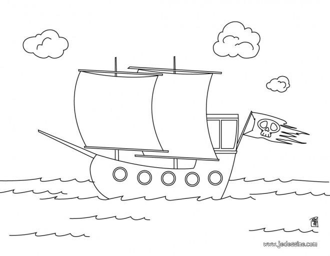 Coloriage et dessins gratuits Petit Navire de pirates pour enfant à imprimer