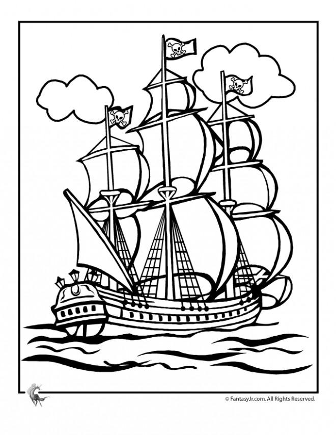 Coloriage et dessins gratuits Portrait Bateau Pirate à imprimer