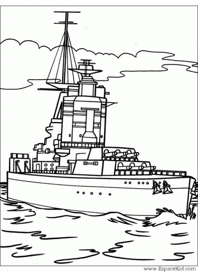 Coloriage un bateau militaire dessin gratuit imprimer - Dessin de bateau facile ...