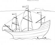 Coloriage Un petit Navire à voile de transport