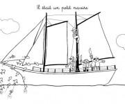 Coloriage Un petit Navire de pirates