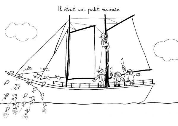 Coloriage et dessins gratuits Un petit Navire de pirates à imprimer