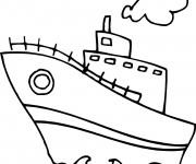 Coloriage et dessins gratuit Navire facile pour enfant à imprimer