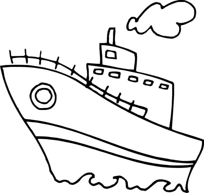 Coloriage Navire Facile Pour Enfant Dessin Gratuit A Imprimer