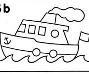 Coloriage et dessins gratuit Un Petit Bateau stylisé à imprimer