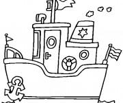 Coloriage et dessins gratuit Un petit Paquebot dans l'eau à imprimer