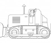 Coloriage Le conducteur de Bulldozer te salue