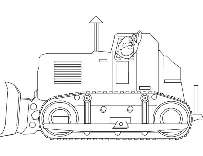 Coloriage et dessins gratuits Le conducteur de Bulldozer te salue à imprimer