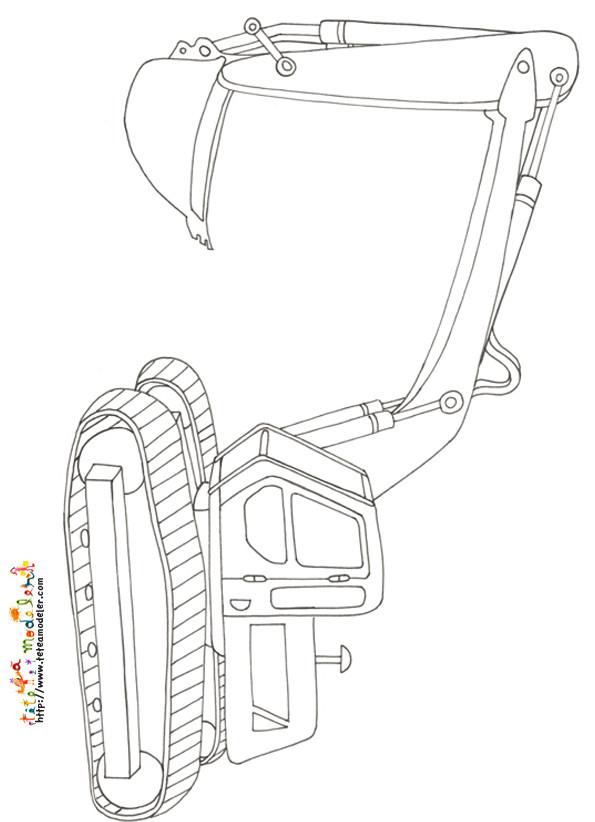 Coloriage pelle m canique au crayon dessin gratuit imprimer - Coloriage tractopelle a imprimer gratuit ...