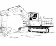 Coloriage et dessins gratuit Pelle Mécanique dans un chantier de construction à imprimer