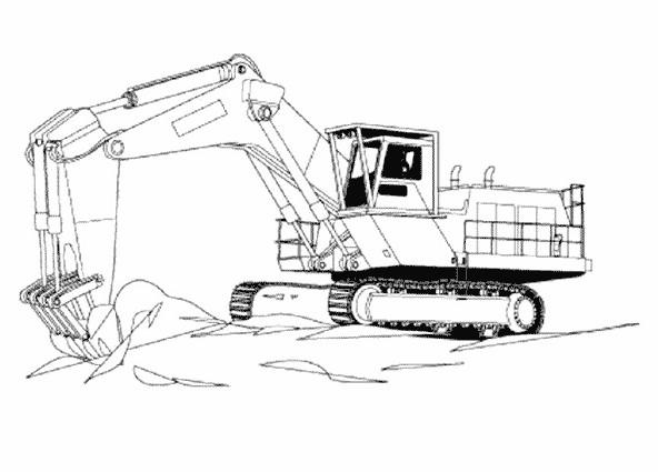Coloriage et dessins gratuits Pelle Mécanique dans un chantier de construction à imprimer