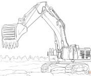 Coloriage et dessins gratuit Pelle Mécanique et chantier de construction à imprimer