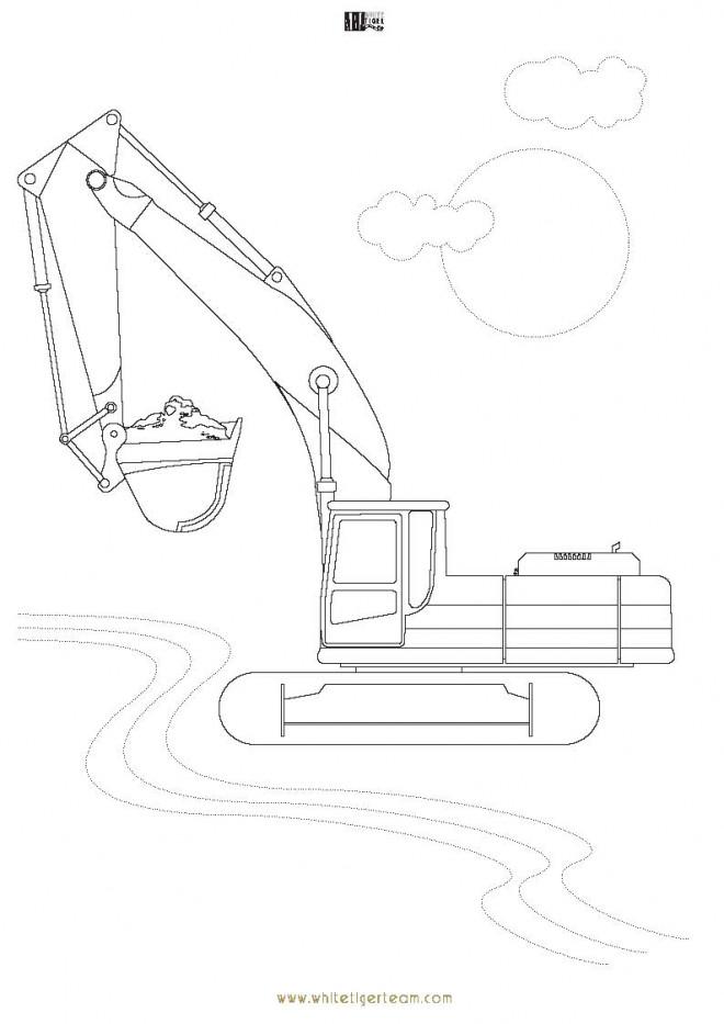 Coloriage et dessins gratuits Pelle Mécanique Transport à imprimer