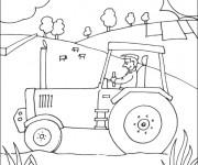 Coloriage Tracteur dans le Champs