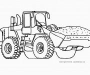 Coloriage et dessins gratuit Tractopelle transporte le chargement de sable à imprimer