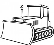 Coloriage Un Bulldozer vecteur