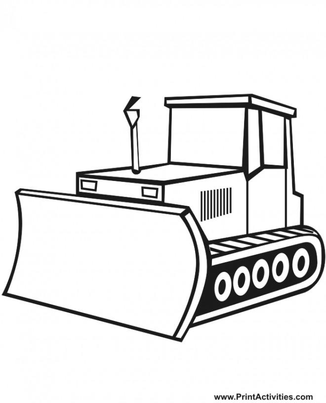Coloriage et dessins gratuits Un Bulldozer vecteur à imprimer
