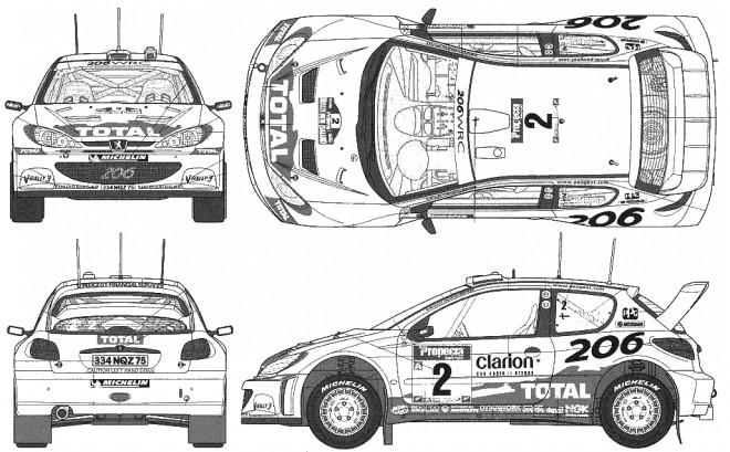 Coloriage Peugeot 206 de Rallye dessin gratuit à imprimer