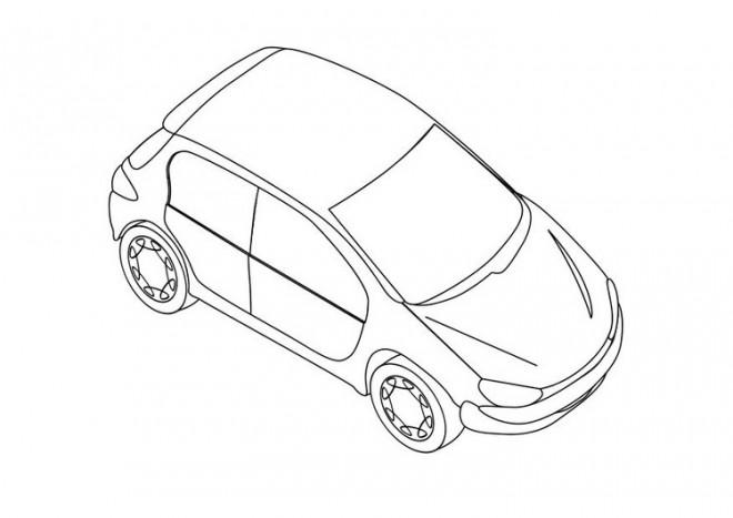 Coloriage et dessins gratuits Peugeot 206 stylisé à imprimer