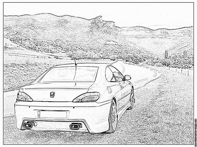 Coloriage et dessins gratuits Peugeot 407 dans la campagne à imprimer