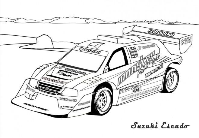 Coloriage et dessins gratuits Voiture de Rallye Suzuki Escudo à imprimer