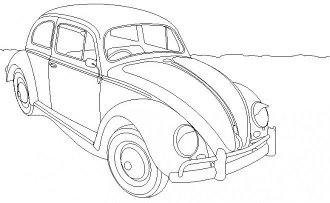 Coloriage et dessins gratuits Ancien voiture coccinelle à imprimer
