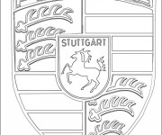 Coloriage et dessins gratuit Logo Porsche à imprimer