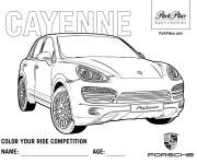 Coloriage et dessins gratuit Porsche Cayenne à imprimer