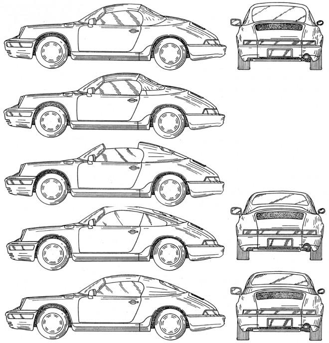 Coloriage et dessins gratuits Porsche Cayman de différents angles à imprimer