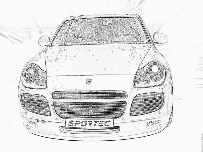 Coloriage et dessins gratuits Porsche réaliste vue de face à imprimer
