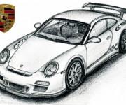 Coloriage Porsche sport au crayon