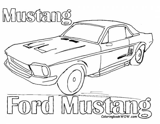Coloriage et dessins gratuits vieille Ford Mustang à imprimer