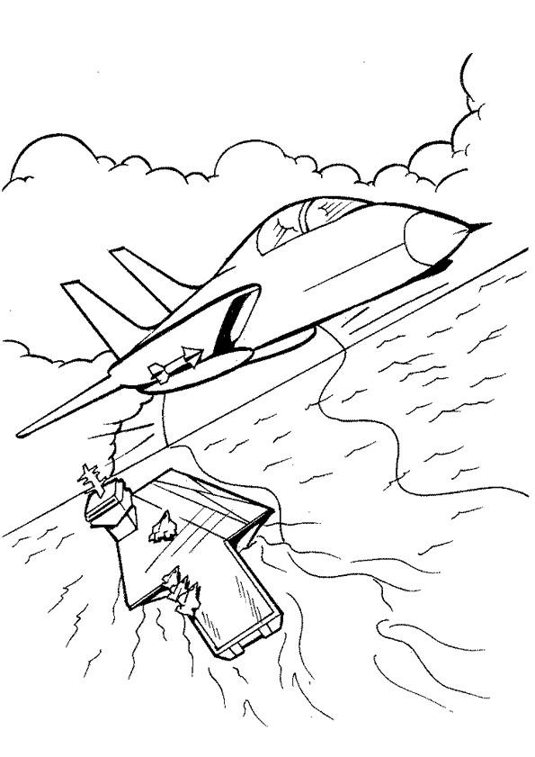 Coloriage et dessins gratuits Avion militaire quitte le Porte Avion à imprimer