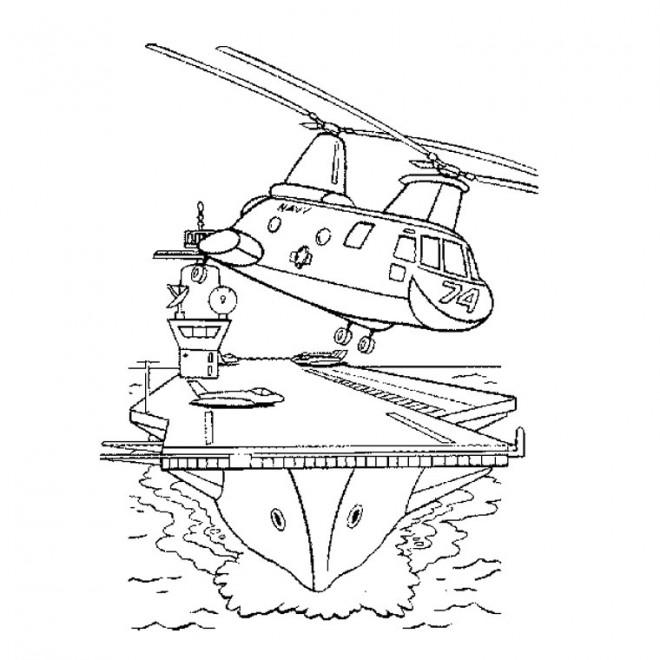 Coloriage et dessins gratuits Hélicoptere militaire à imprimer